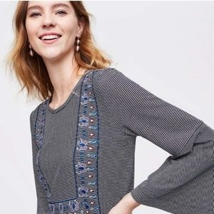 LOFT striped embroidered bell sleeve top